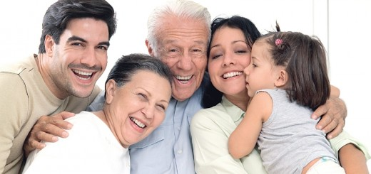 Portrait of smiling three generation family, close-up